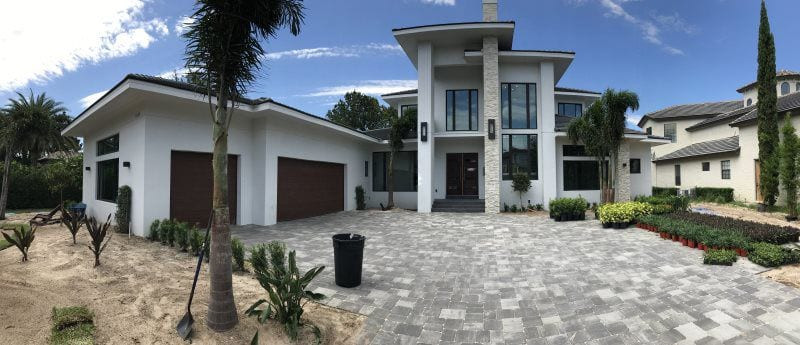 House with stamped concrete