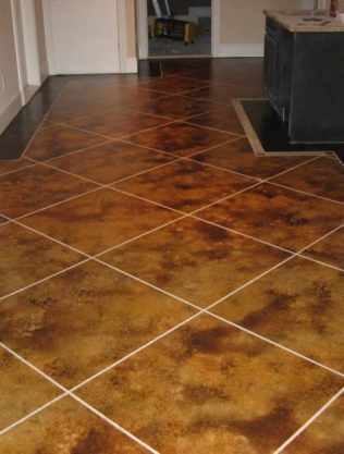 Stained Concrete Floor - Tile Design
