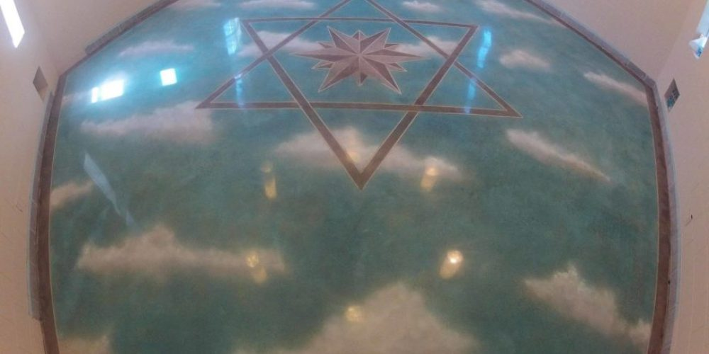 Star of David Cloud Design Flooring - Concrete Mystique Engraving