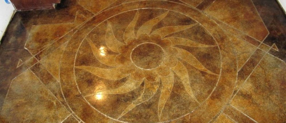 Sun Burst Concrete Floor Engraving - Nashville TN