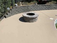 concrete engraving around fire pit