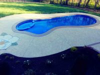 concrete pool deck with engraving